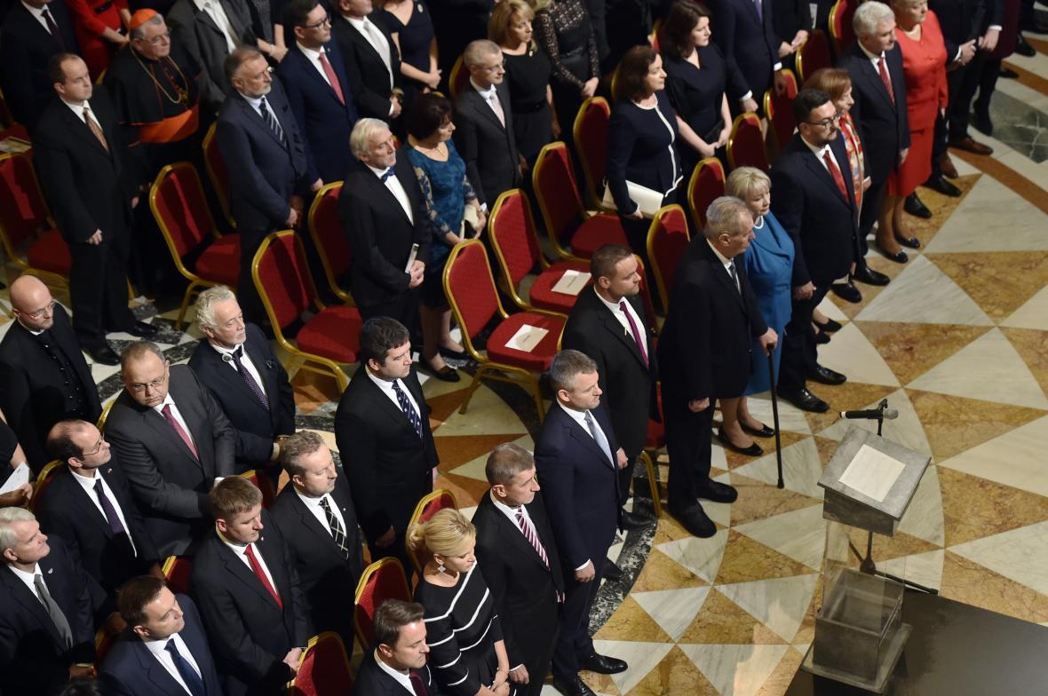 Český prezident Miloš Zeman s chotí Ivanou  a další politici a osobnosti se zúčastnili slavnostního otevření historické budovy Národního muzea v Praze.