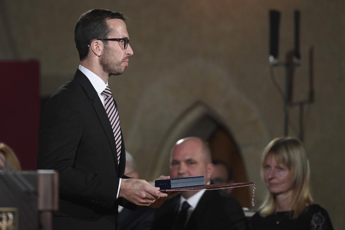 Ocenění si od prezidenta převzal také tenista Radek Štěpánek