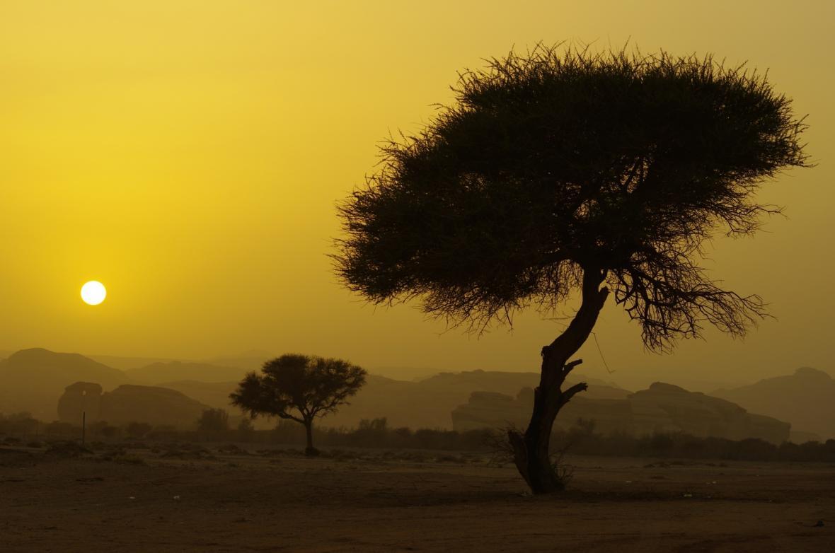 Západ slunce v Saúdské Arábii