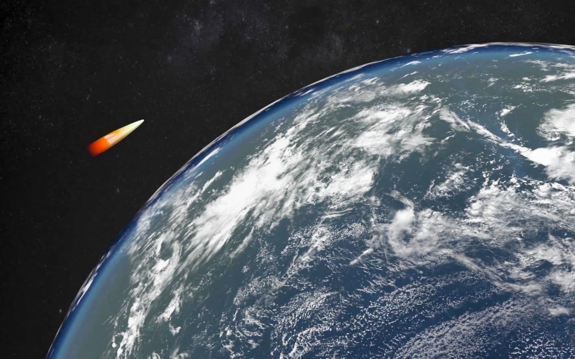 Počítačová simulace pohybu ruské hyperzvukové rakety Avangard