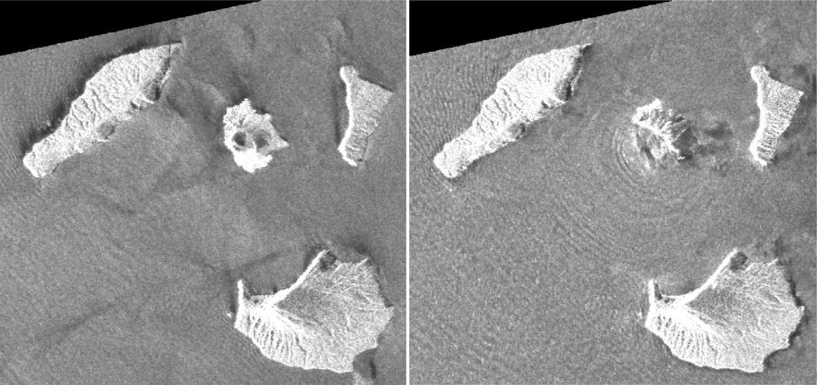 Radarové snímky zachycující sopku Krakatoa před a po erupci