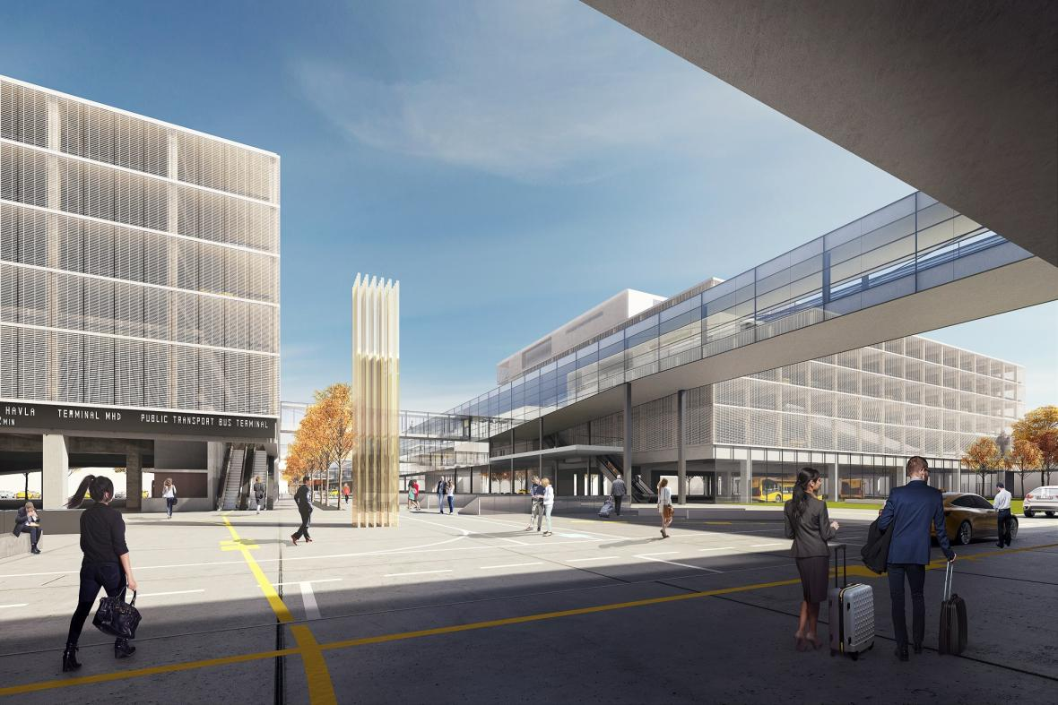 Návrh podoby pražského letiště s novými parkovacími domy a skywalkem
