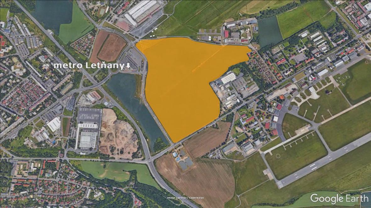 Pozemek v Letňanech, kde by mohla vzniknout úřednická čtvrť