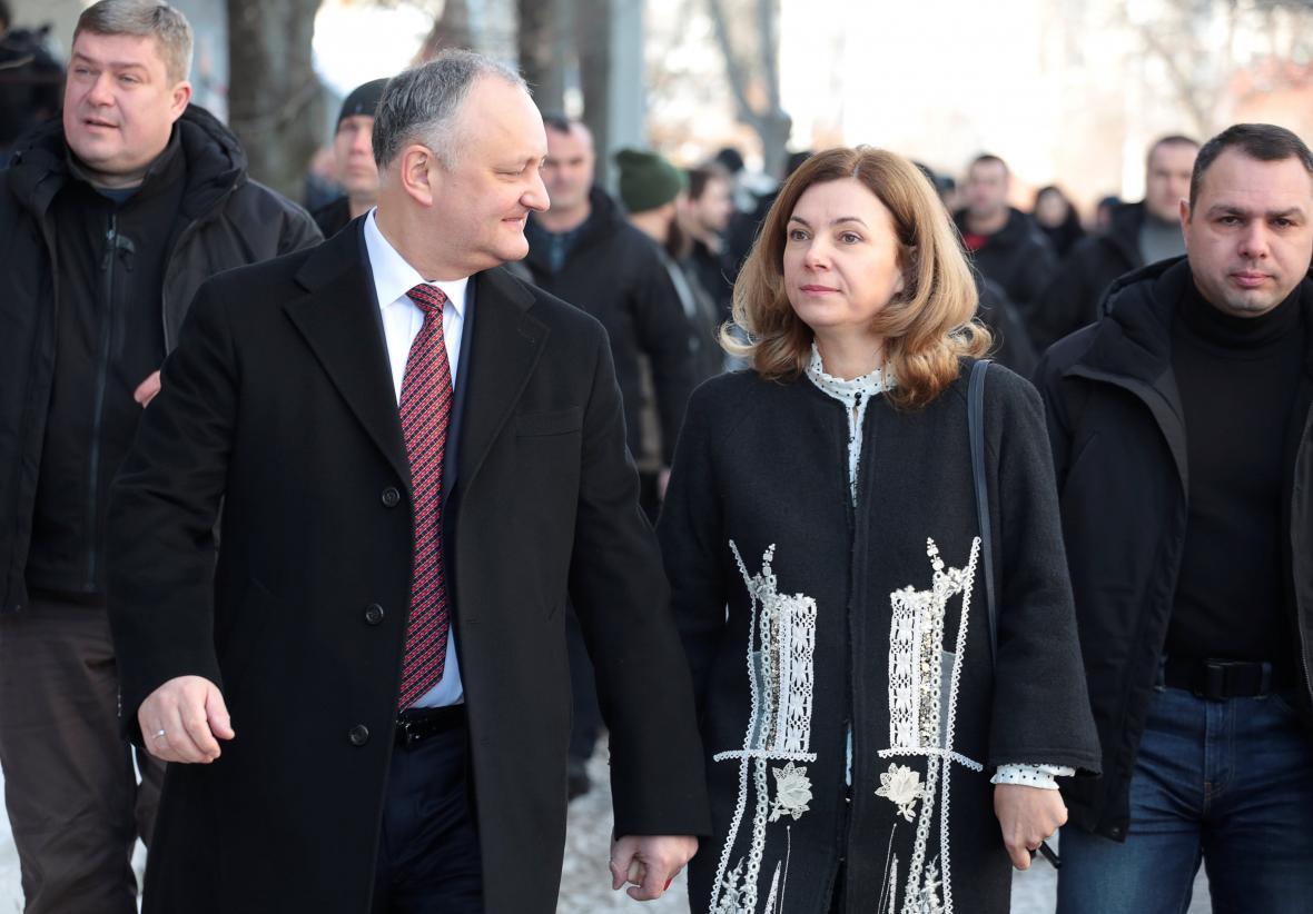 Moldavský prezident Igor Dodon s manželkou Galinou