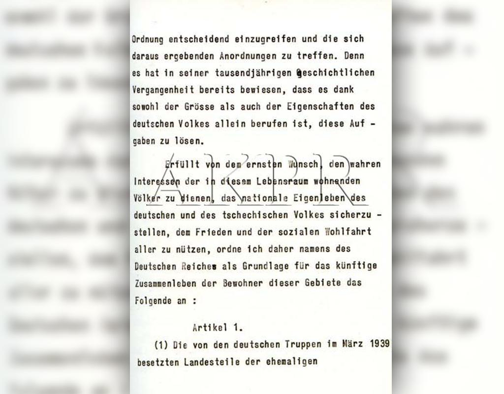Výnos Adolfa Hitlera o zřízení protektorátu Čechy a Morava
