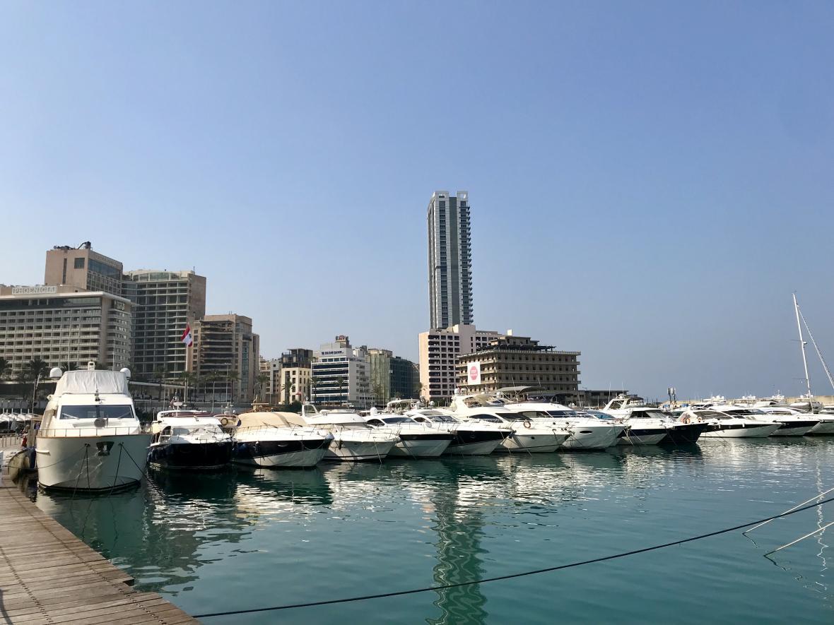 Výhled na Bejrút z přístavu
