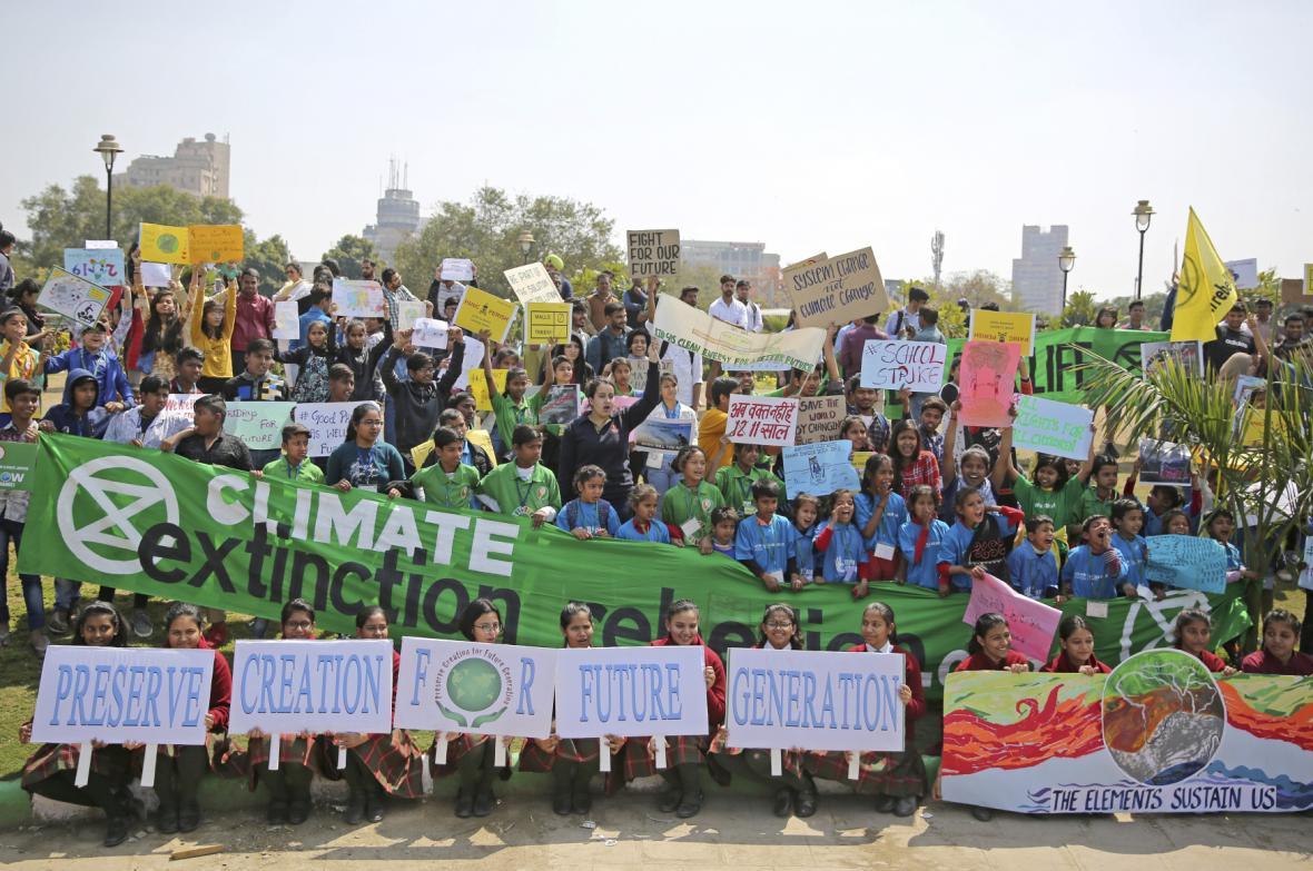 Studentská stávka proti změnám klimatu v Praze.