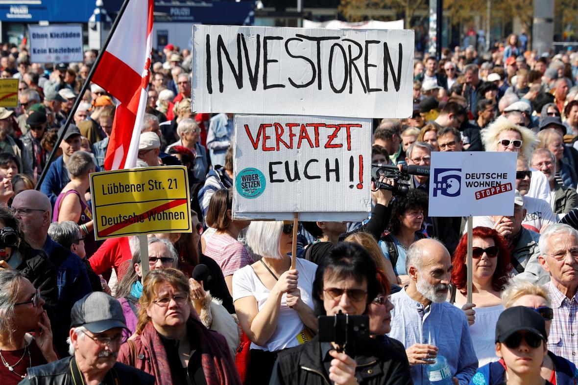 Berlínská demonstrace proti cenám nájmů