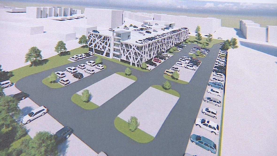 Vizualizace parkovacích domů u brněnských nemocnic