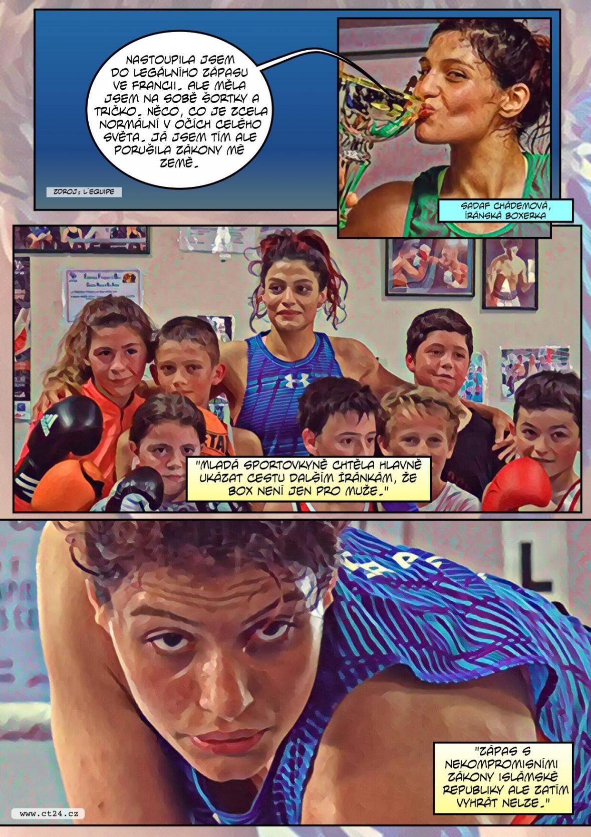 Komiks: Íránské boxerce hrozí vězení