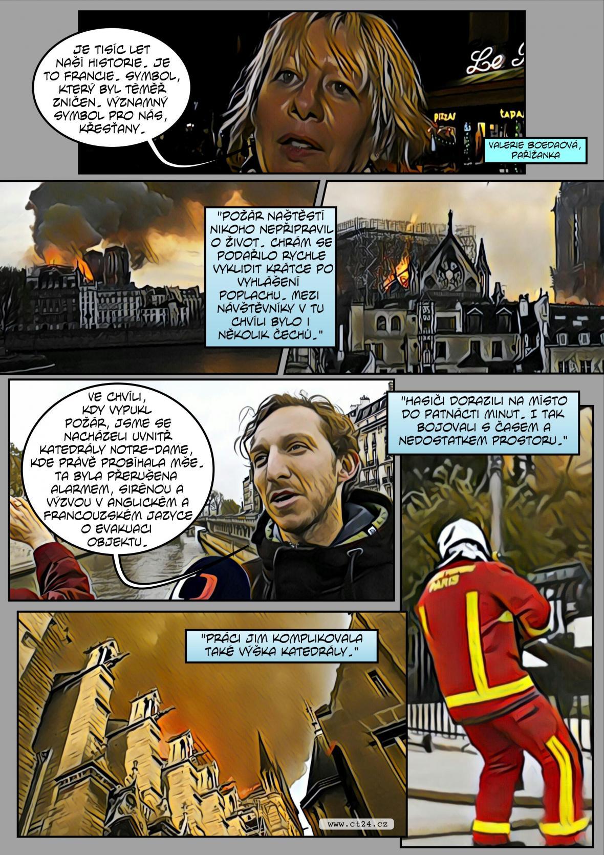 Komiks: Požár Notre-Dame