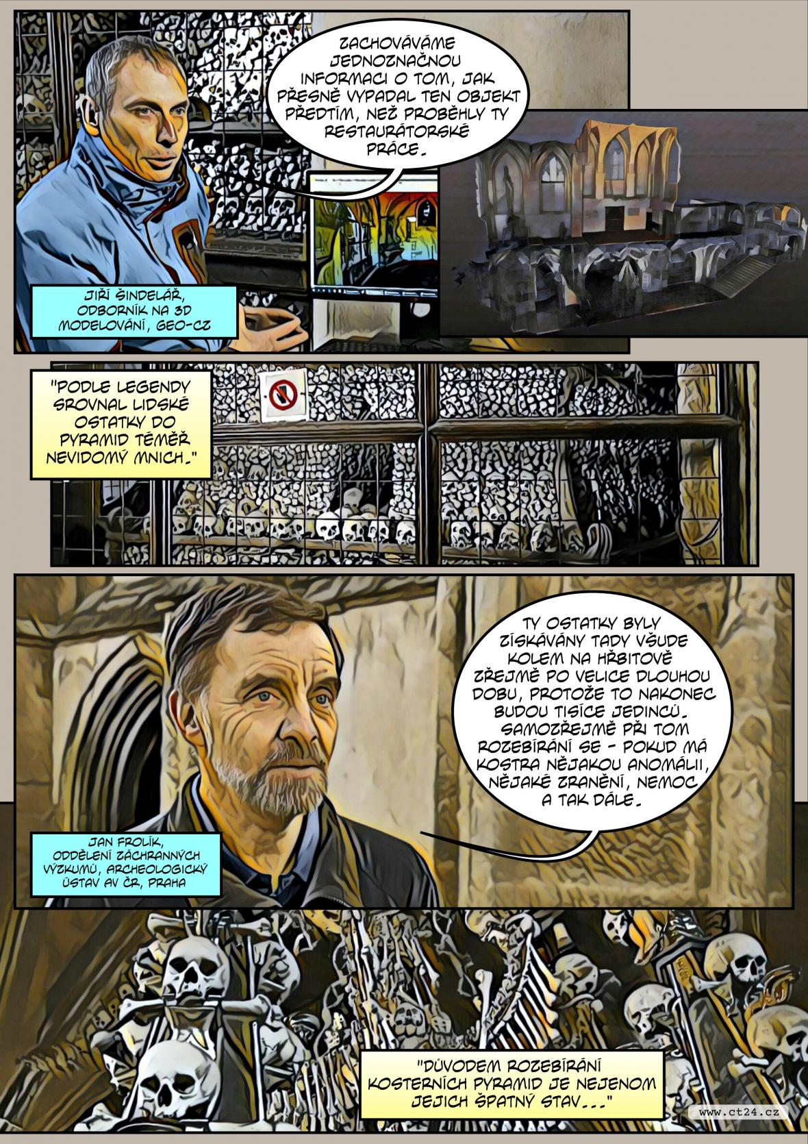Komiks: Kutnohorská kostnice ve 3D modelu