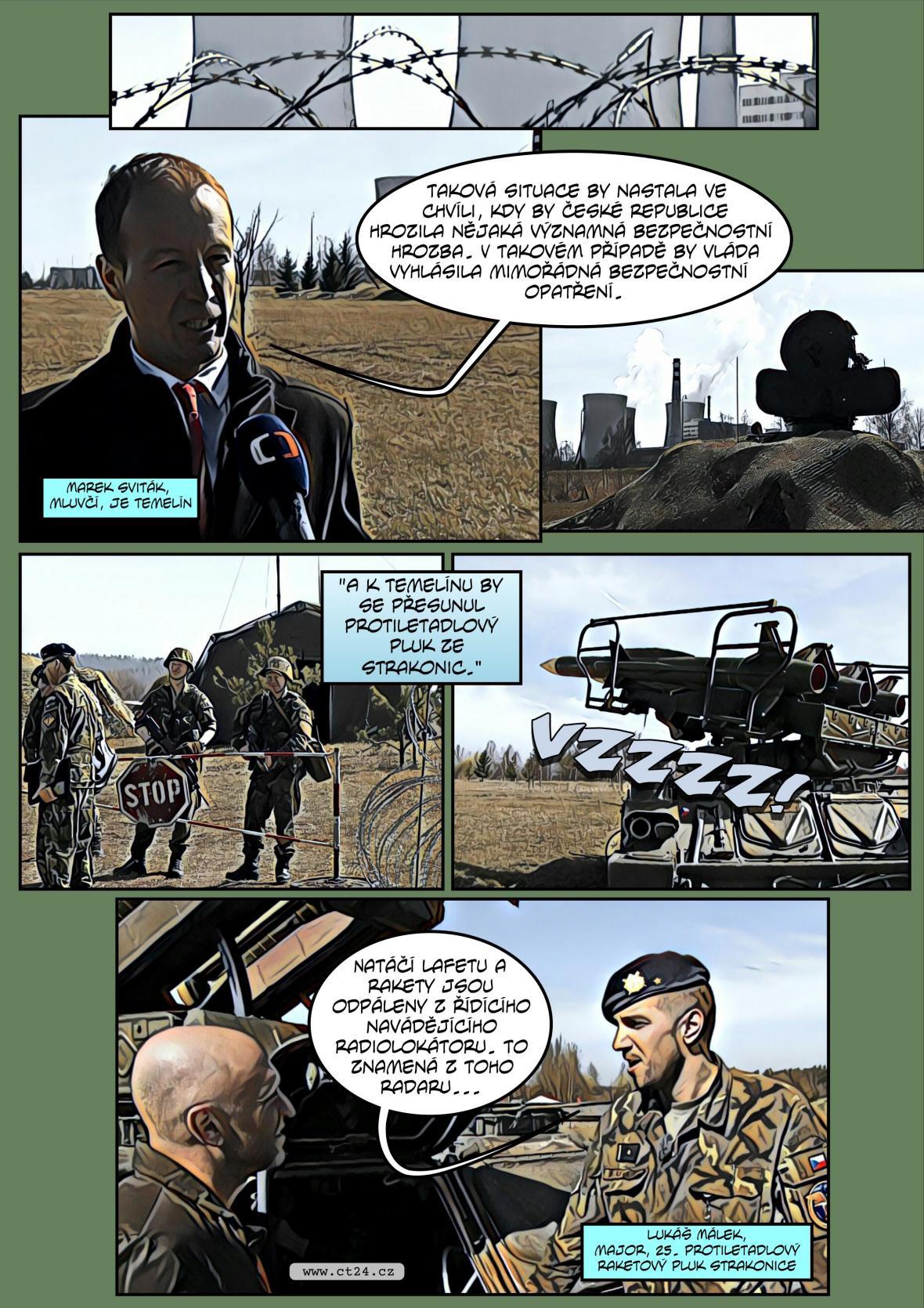 Komiks: Cvičení obrany Temelína