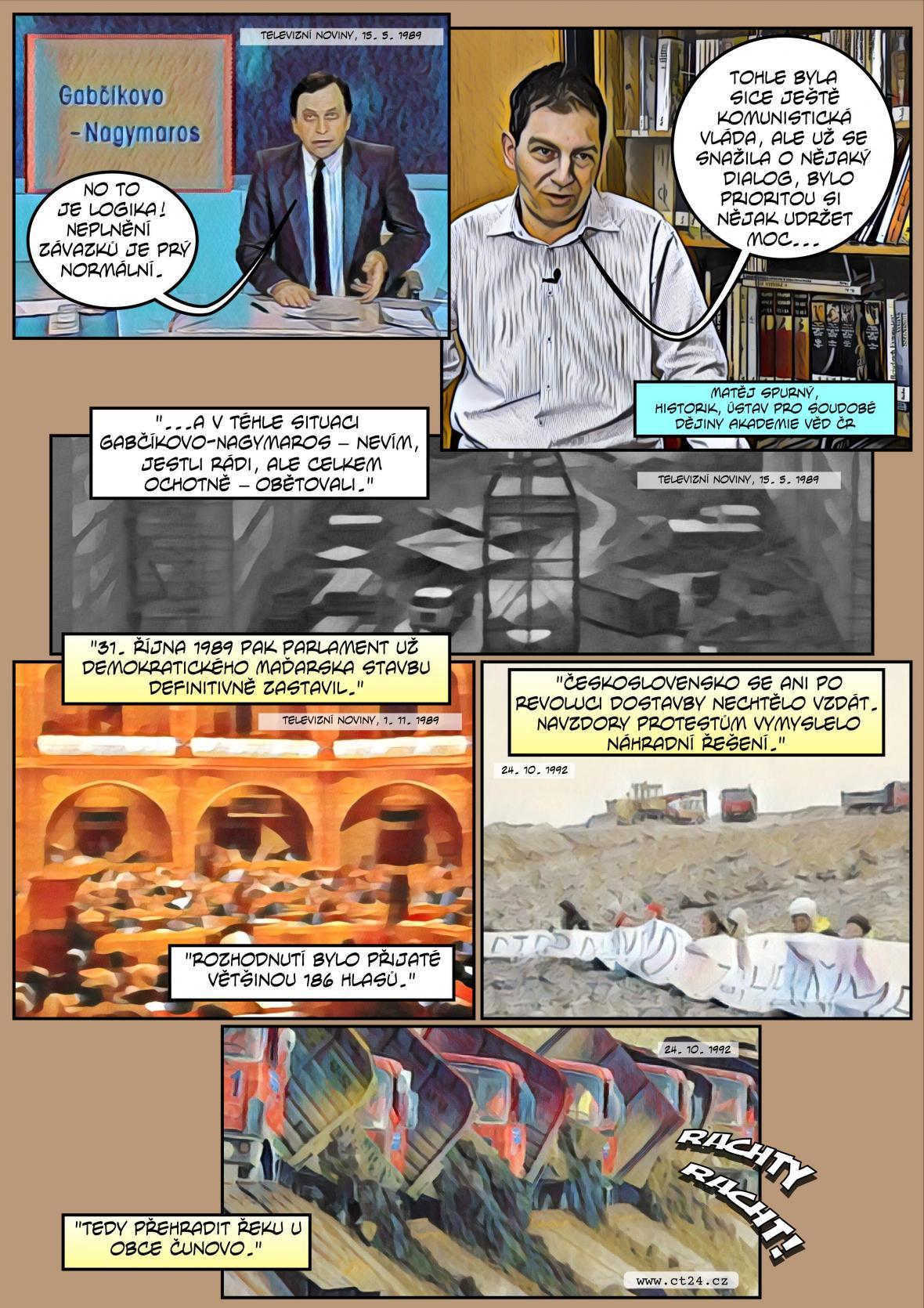 Komiks: 30 let dd pozastavení prací na projektu Gabčíkovo–Nagymaros