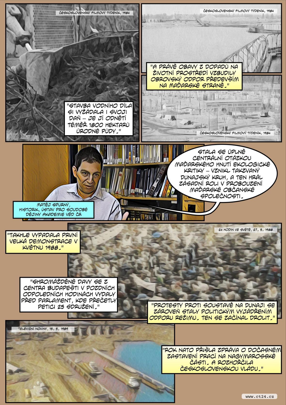 Komiks: 30 let od pozastavení prací na projektu Gabčíkovo–Nagymaros