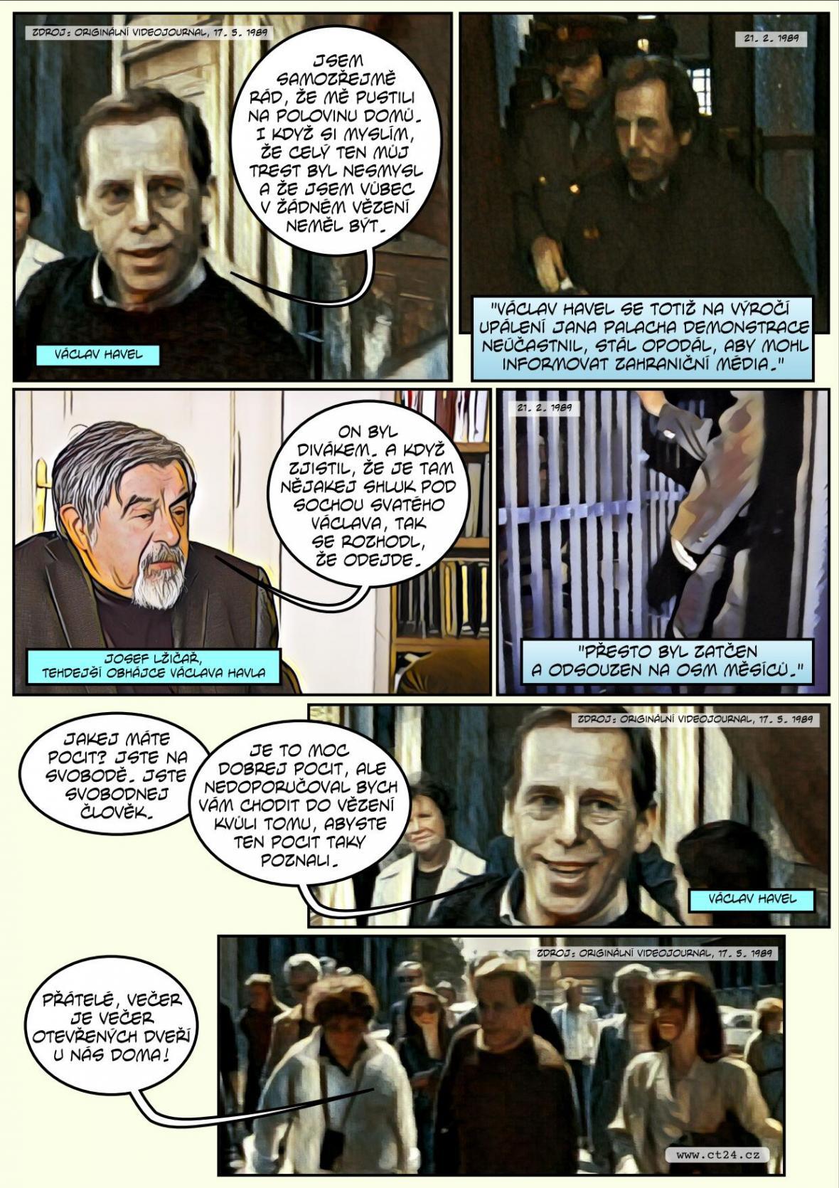 Komiks: Před třiceti lety Havel naposledy opustil vězení