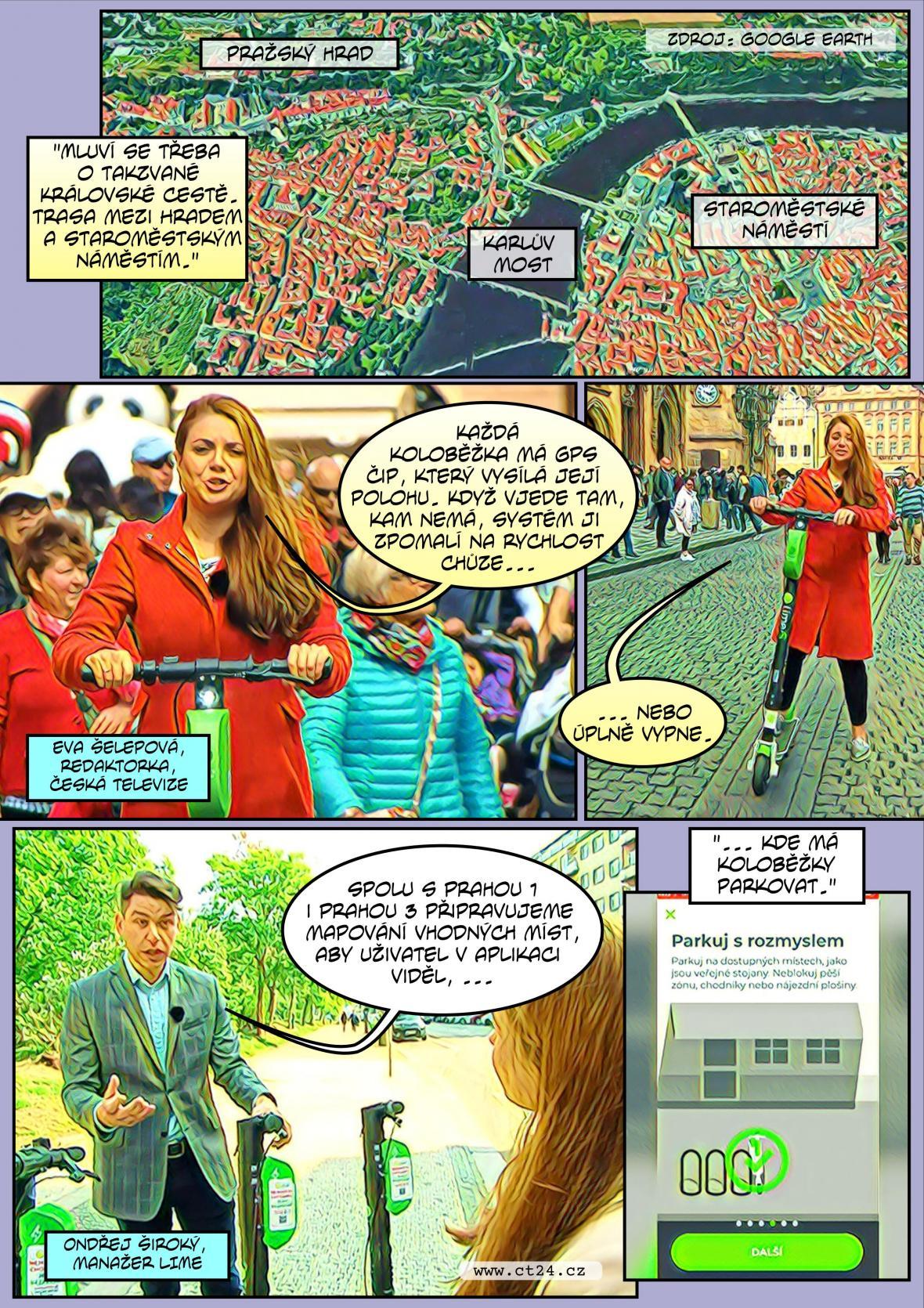 Komiks: E-koloběžky v Praze