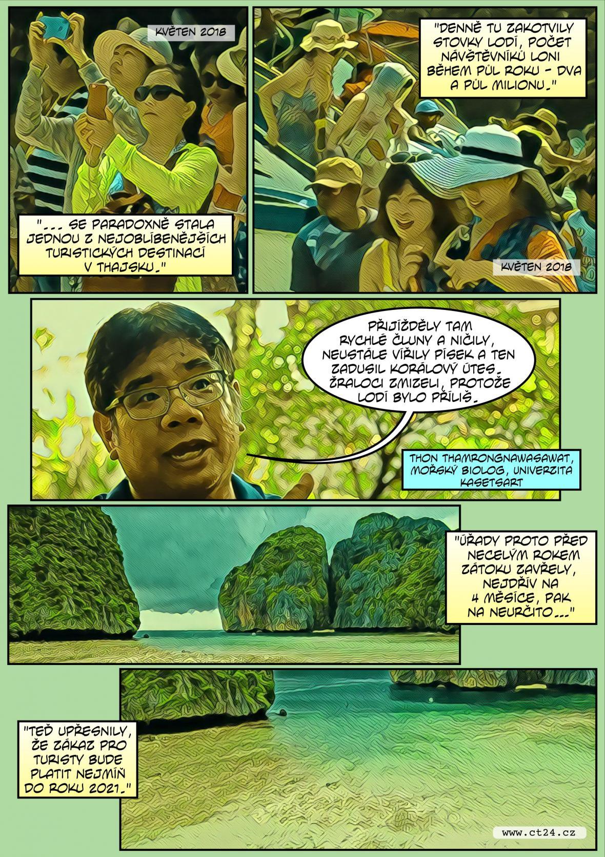 Komiks: Slavná pláž se vzpamatovává z turismu