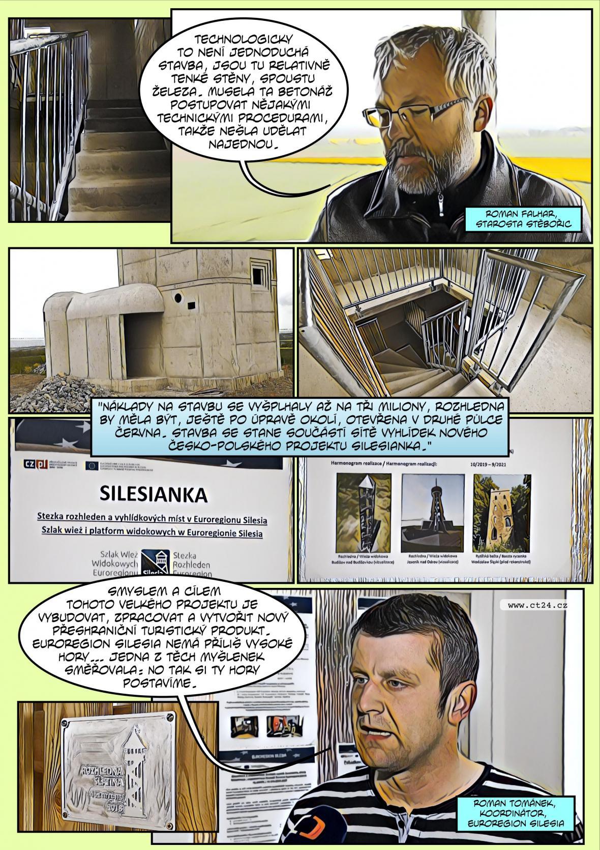 Komiks: Nové rozhledny ve Slezsku