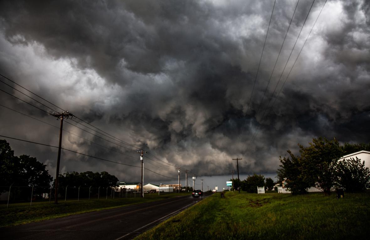 Bouře doprovázející tornádo v Oklahomě