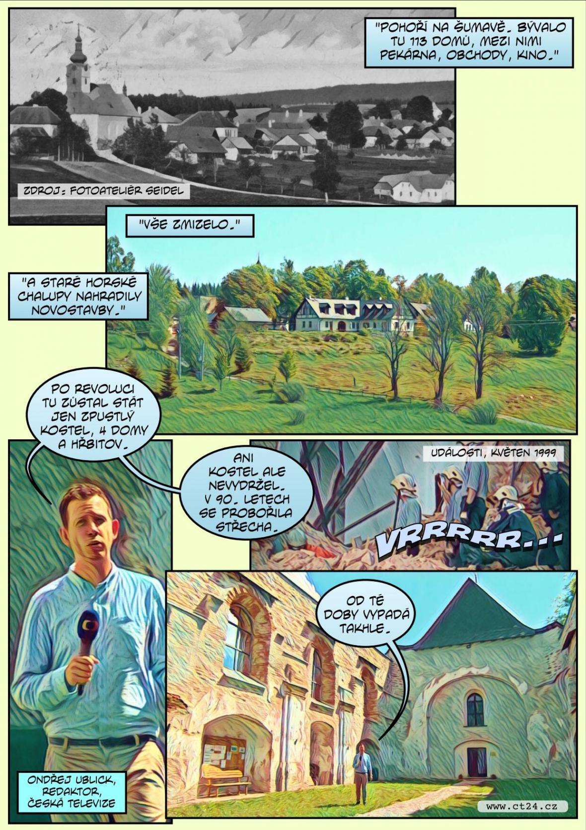 Komiks: Virtuální oživení zaniklých šumavských vesnic