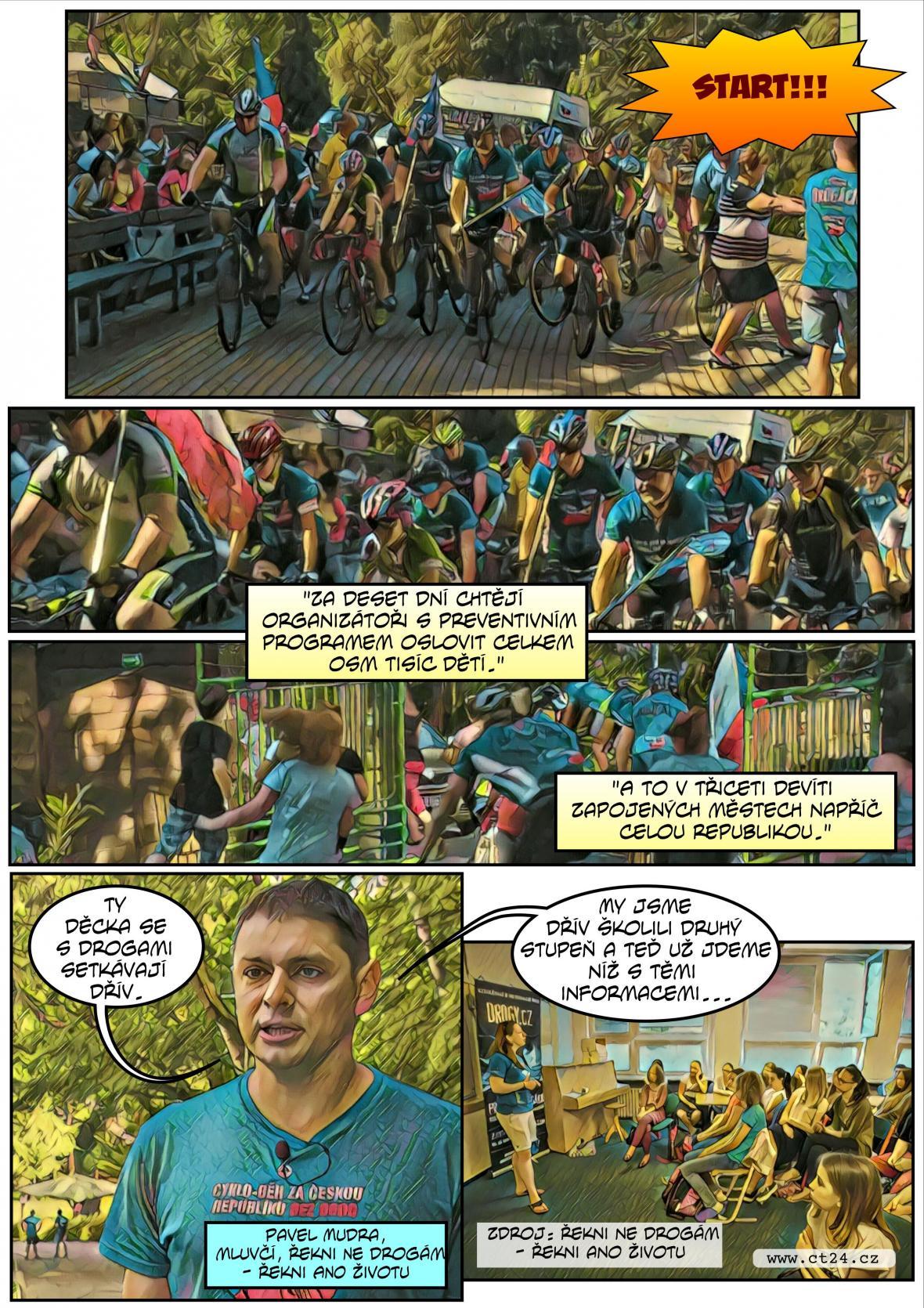 Komiks: Cyklo-běh za Českou republiku bez drogy
