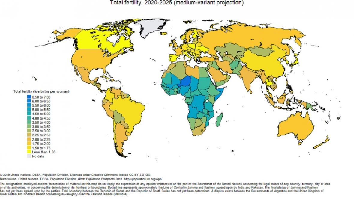 Vývoj plodnosti od roku 1950