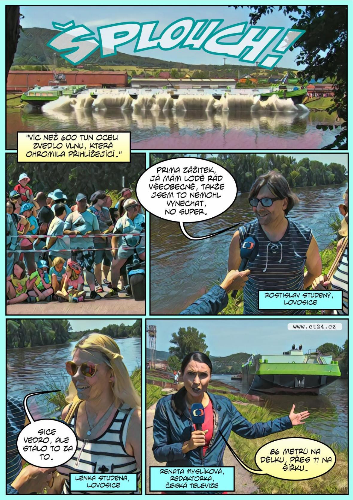 Komiks: U Lovosic spustili na vodu obří tanker