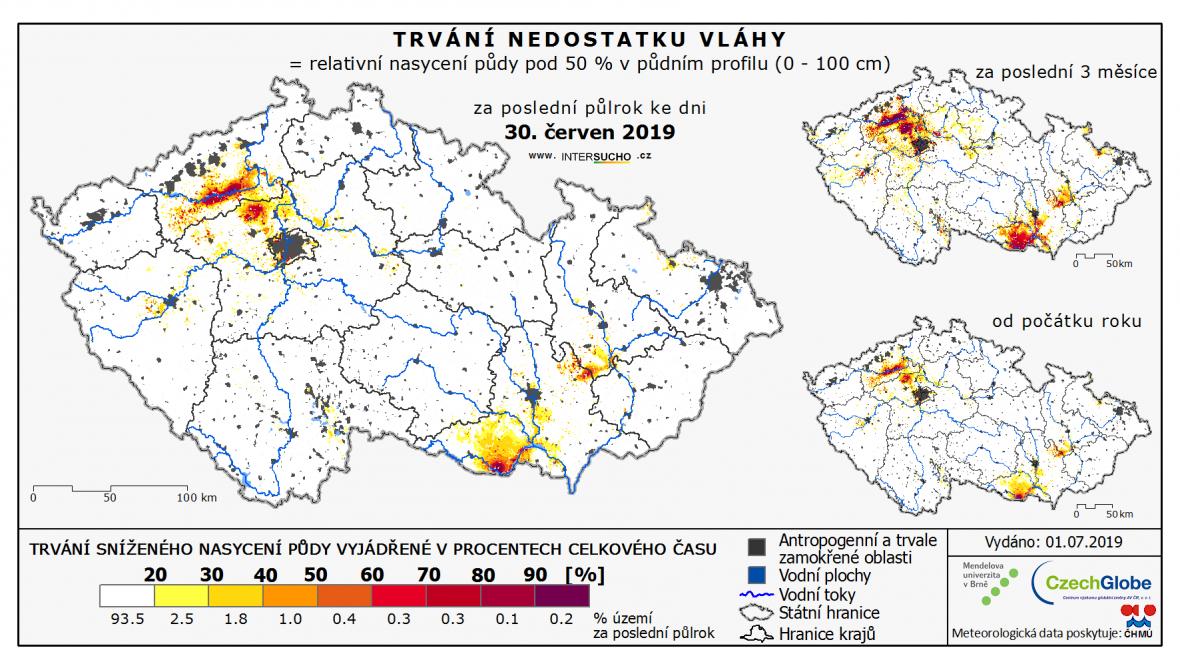 Trvání sníženého nasycení půdy vyjádřené v procentech času