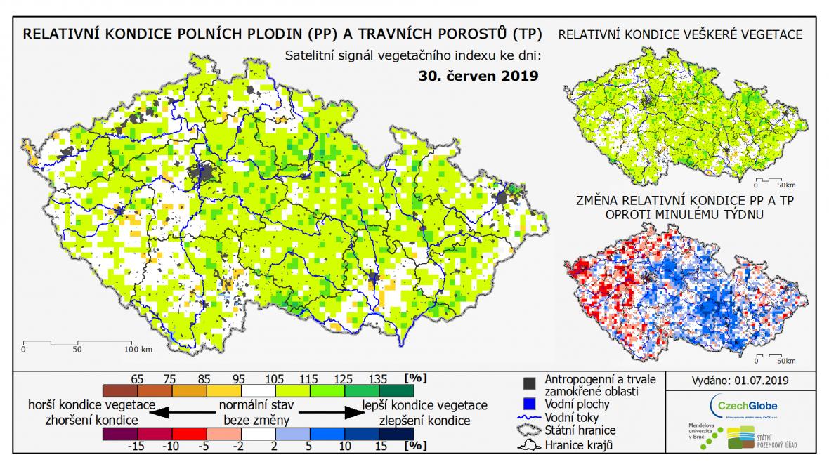 Relativní kondice polních plodin (PP) a travních porostů (TP)