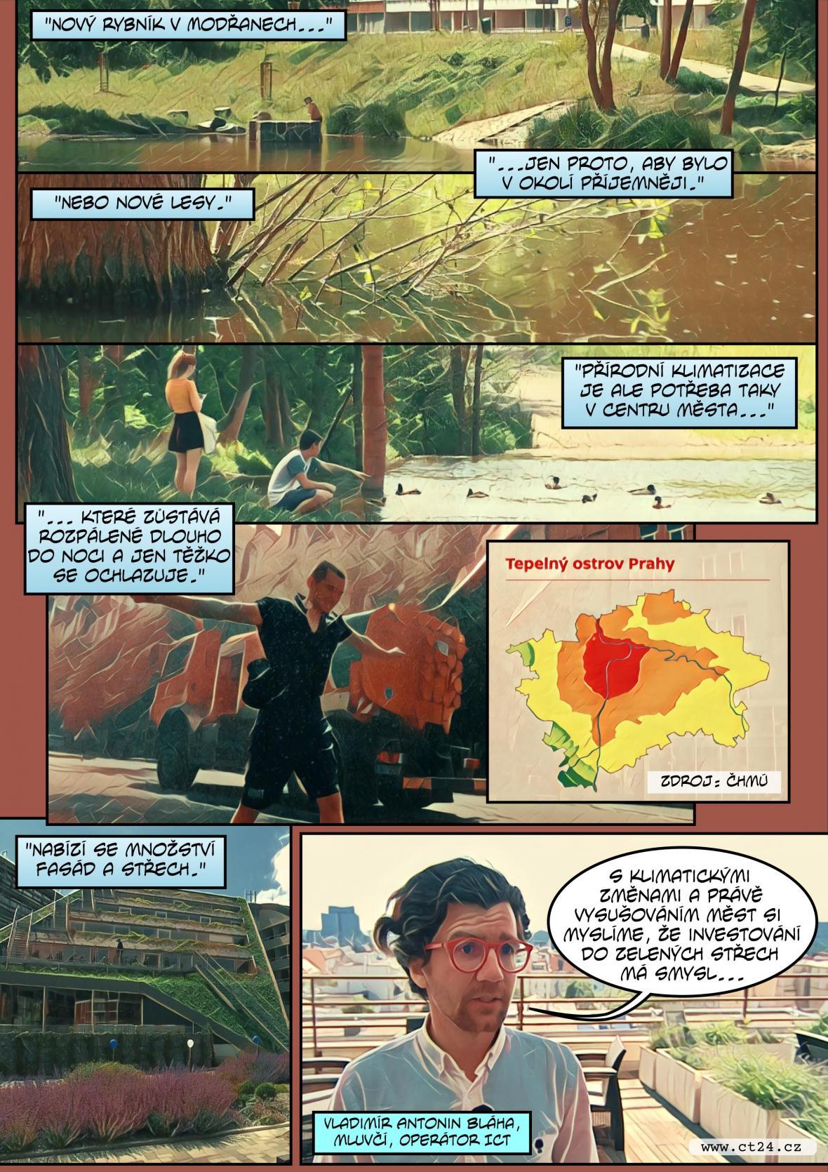 Komiks: Praha se snaží zmírnit svůj tepelný ostrov