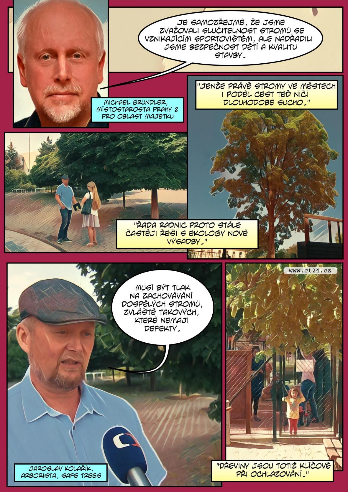 Komiks: Petice proti kácení stromů v Praze