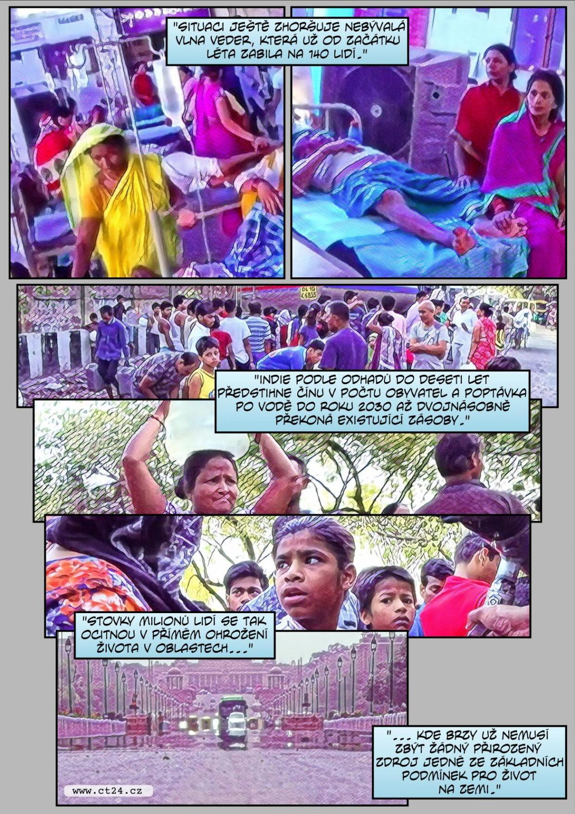 Komiks: Indie čelí nedostatku vody