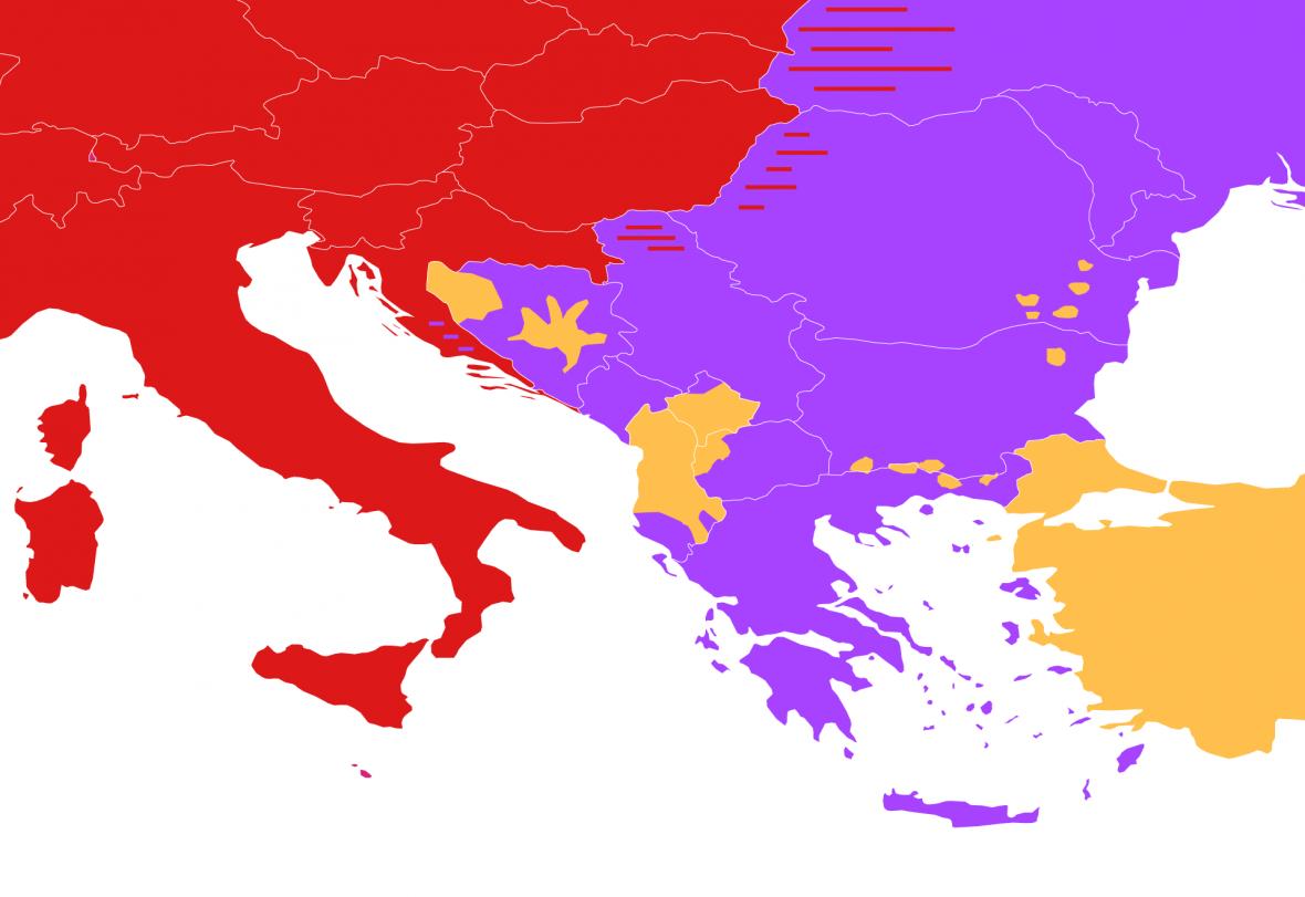 Porovnání hranice rozdělené Římské říše a současného rozšíření náboženství