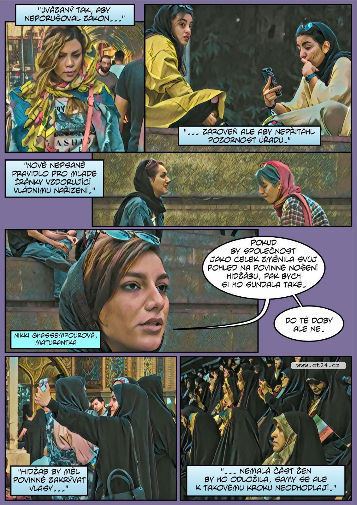 Mládé Íránky vzdorují režimu a odkládají hidžáby
