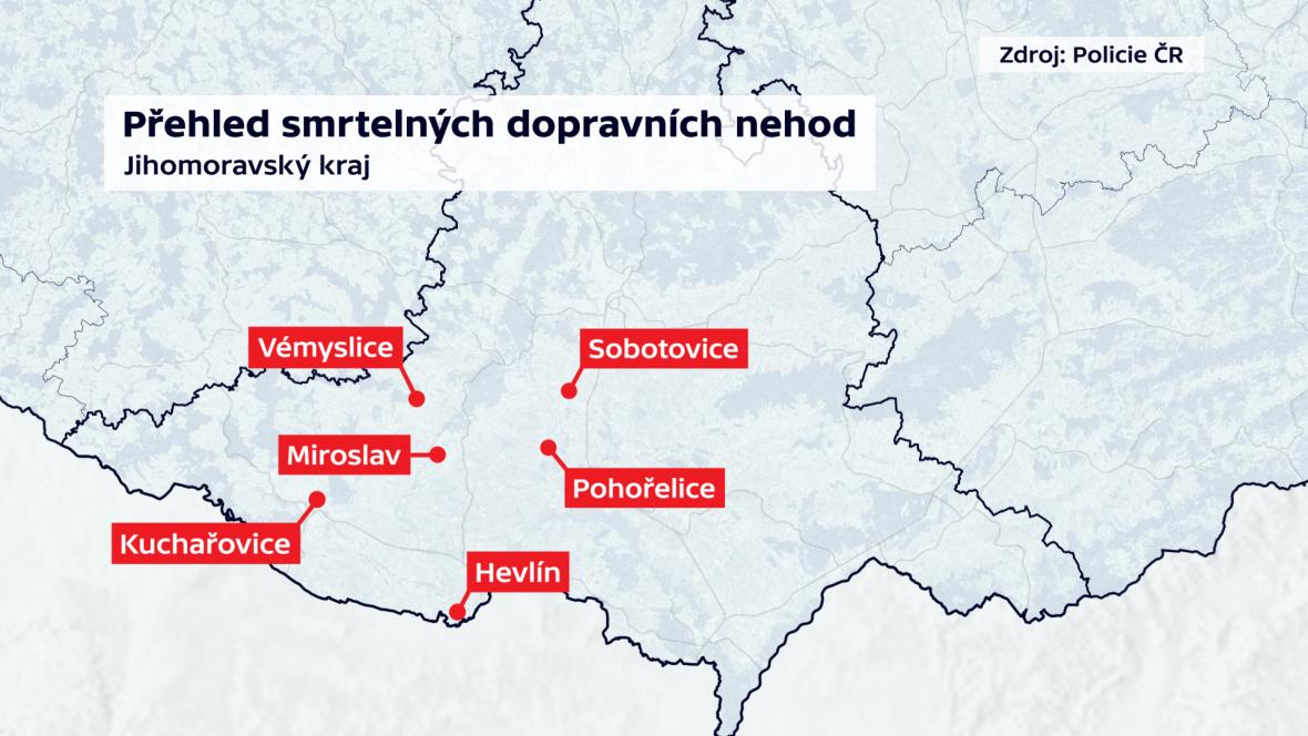 Smrtelné dopravní nehody na jižní Moravě