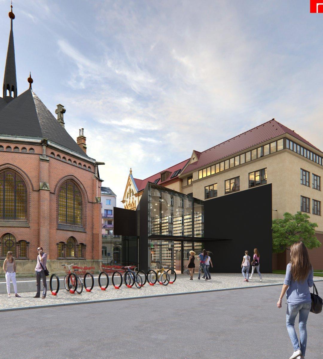 Vizualizace opraveného červeného kostela v Olomouci