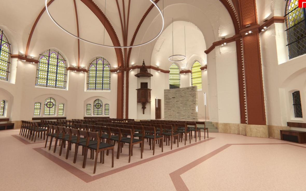 Vizualizace opravených vnitřních prostor červeného kostela