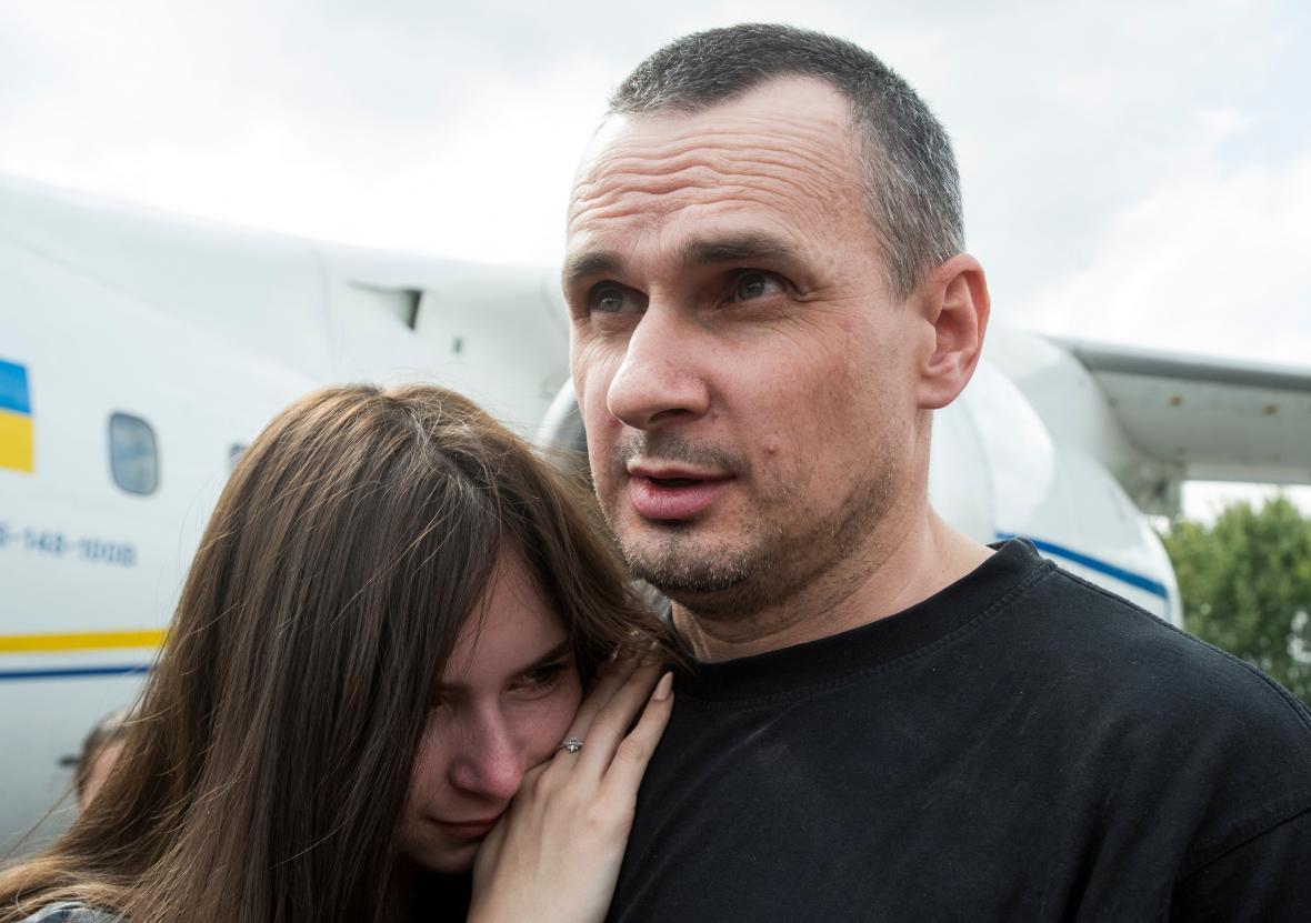 Oleh Sencov se svou dcerou