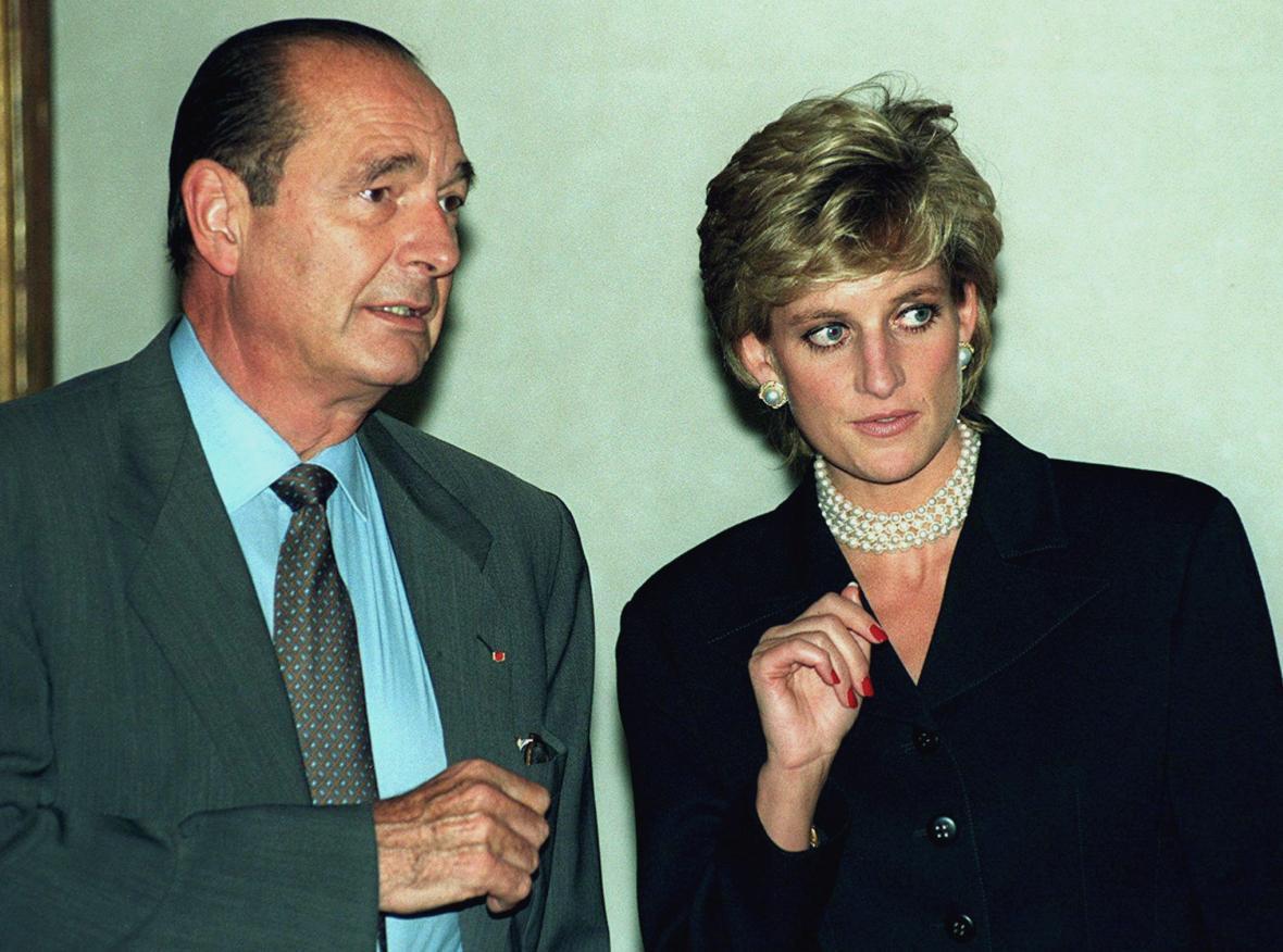 Chirac s princeznou Dianou v září 1995.