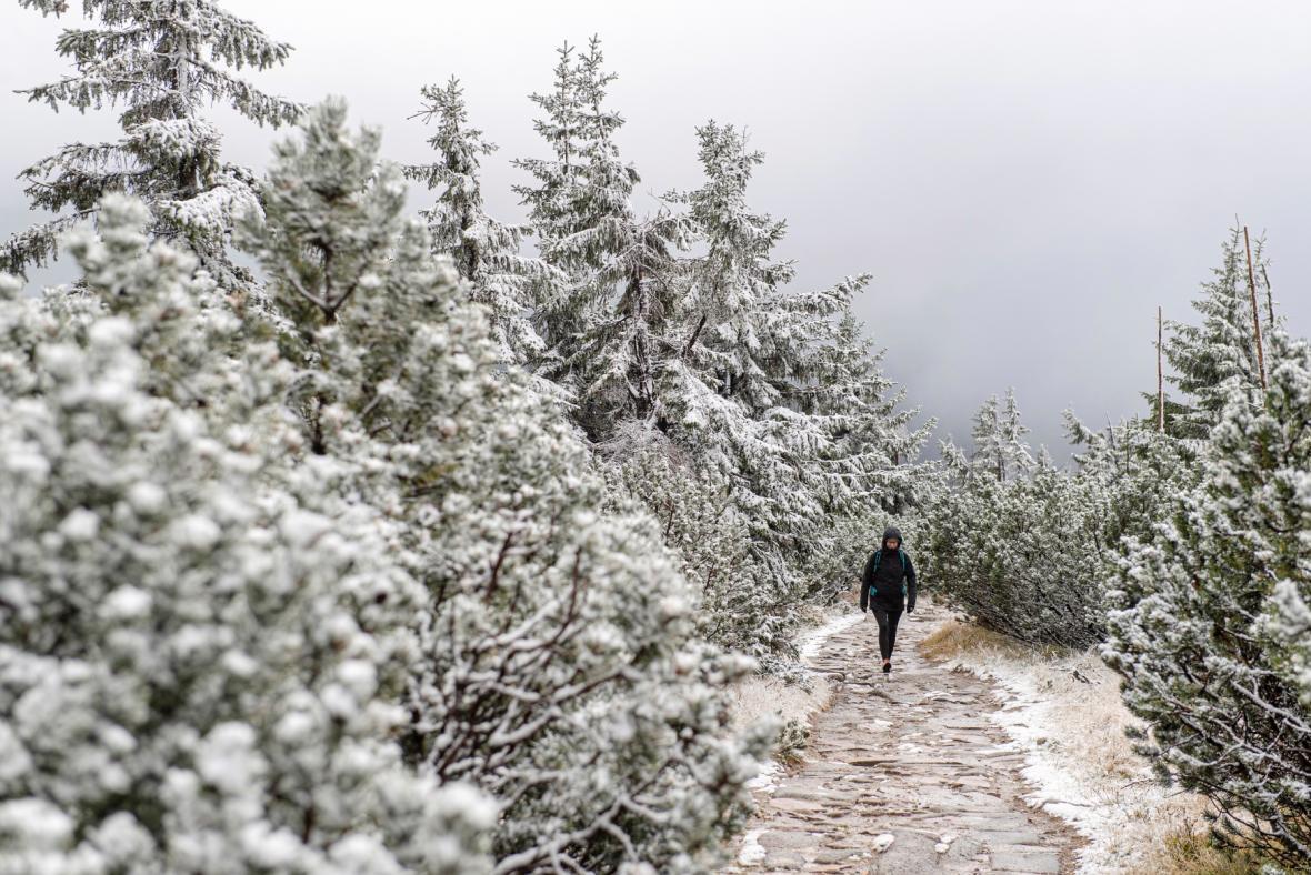 Na hřebenech Krkonoš napadl první sníh, na snímku je cesta k Petrově boudě