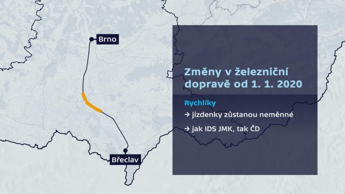 Cestování vlakem po Jihomoravském kraji od roku 2020