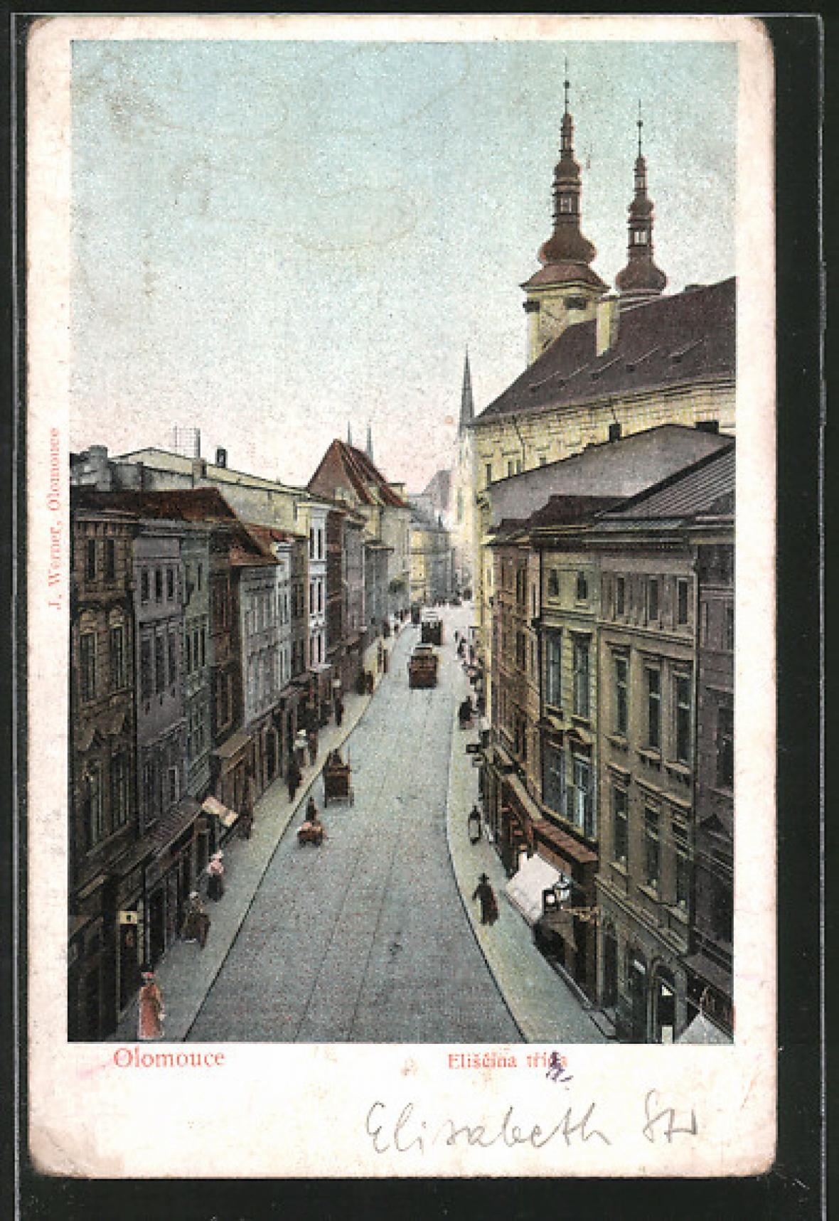 Pohlednice odeslaná z Olomouce do Vídně 8. srpna 1914