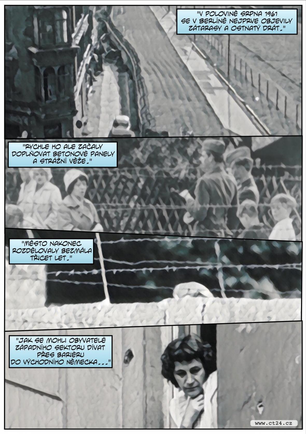 Panoramatická instalace připomíná Berlínskou zeď, která rozdělila osud lidí i rodin