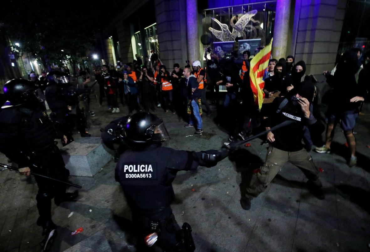Sobotní protesty v Katalánsku