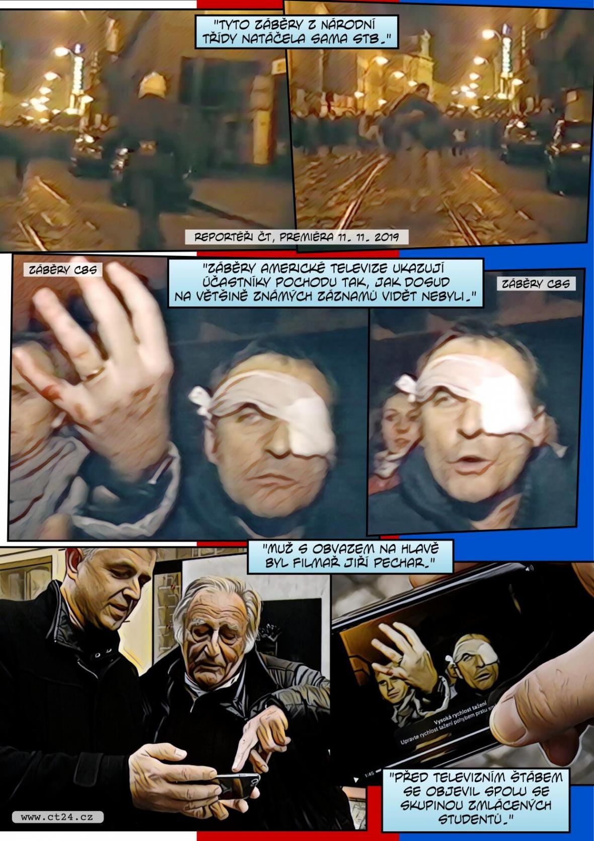 Neznámé záběry zbitých studentů z Národní třídy pořídila americká televize