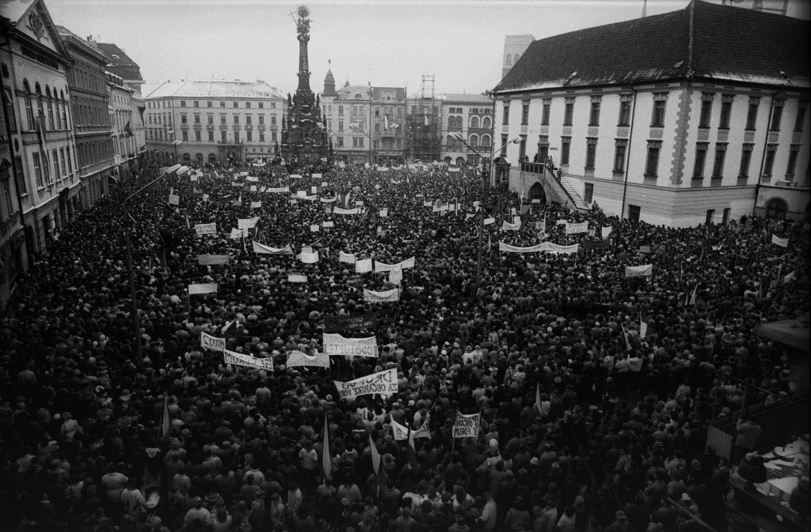 Stávka studentů v Olomouci v roce 1989
