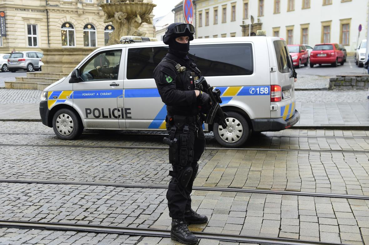 Bezpečnostní opatření v centru Olomouce před příjezdem Věstonické venuše