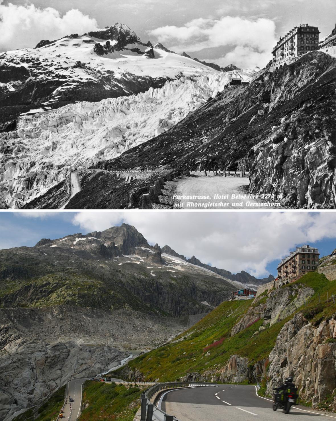 Úbytek ledovců v Alpách