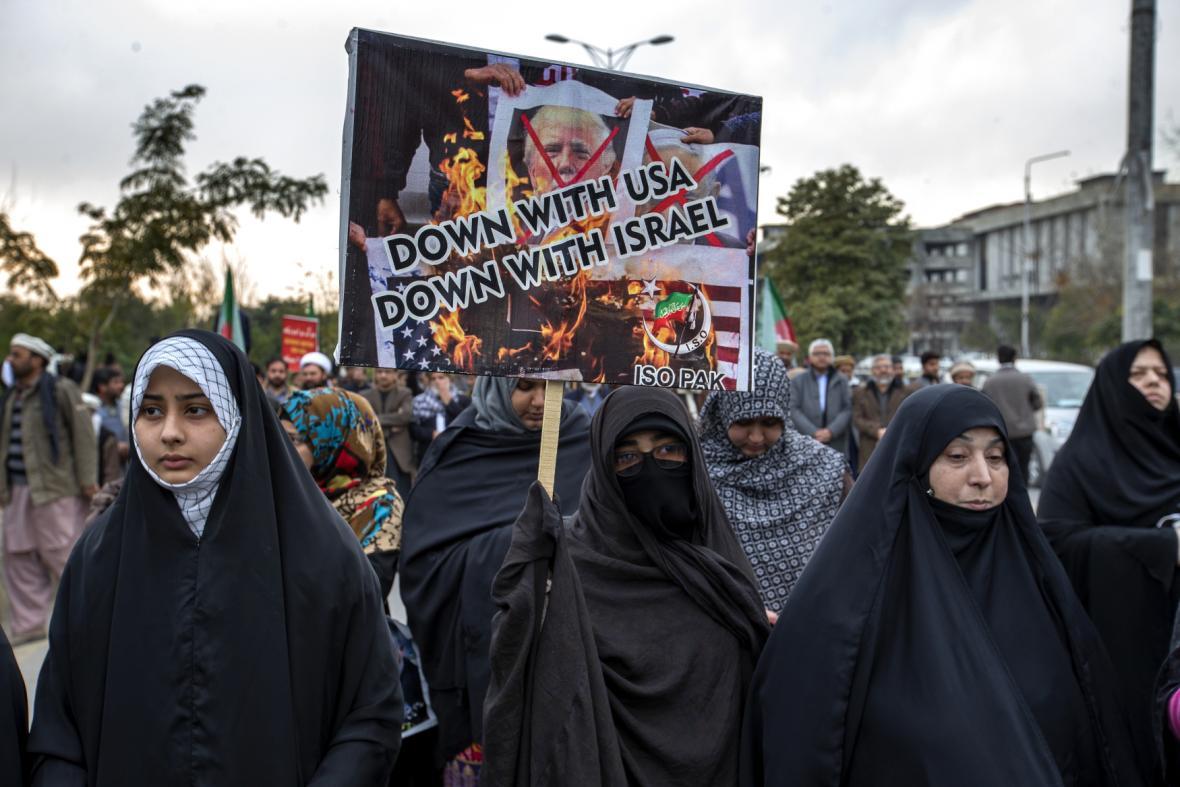 Pákistánští šíitští muslimové při protestech v Islámábádu